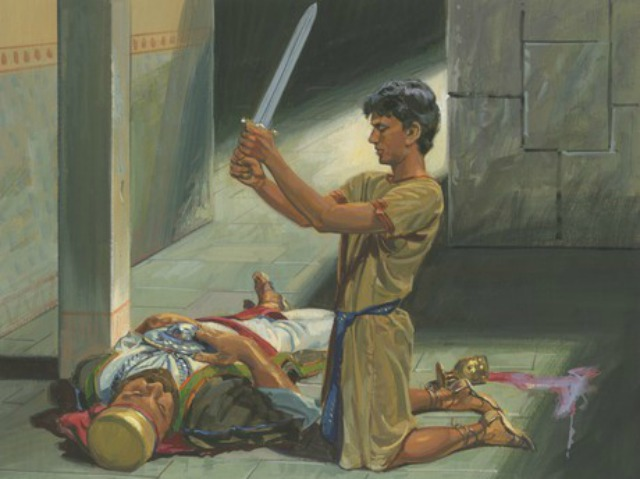 How did Nephi keep from getting blood on his clothes when he killed Laban?