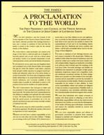 "A picture of ""A Proclamation to the World"" message from the Mormon Presidency."