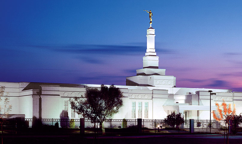 Fresno California Temple in the evening