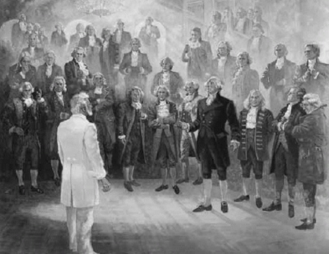 When did the American Founding Fathers appear in a Mormon Temple?