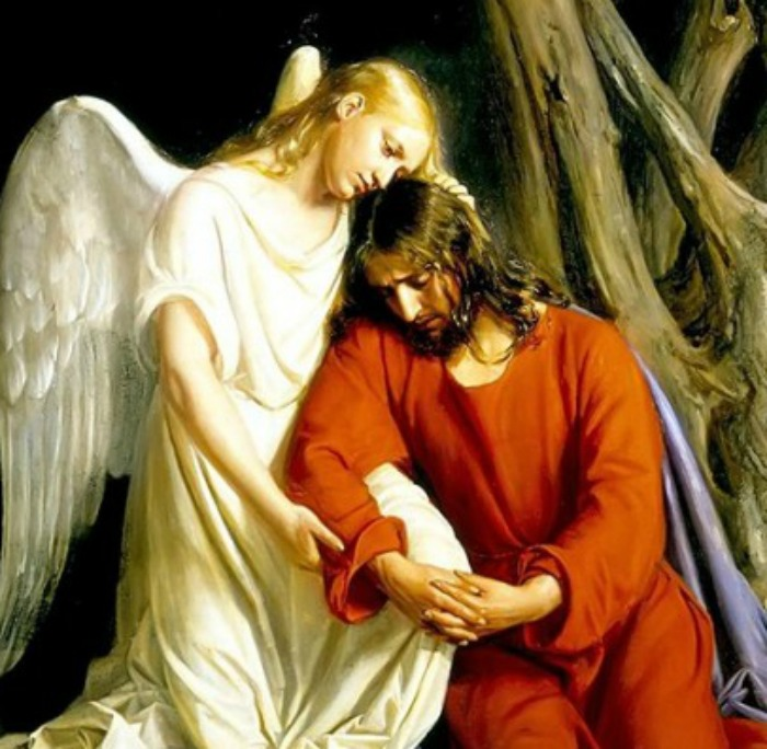 Jesus consoled by an angel