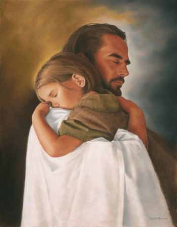Mormon Jesus hugging child
