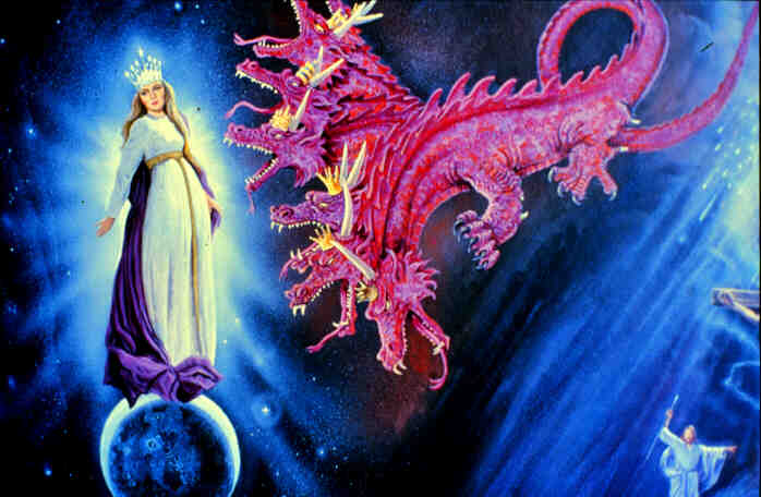 Who is the woman and the dragon spoken of in Revelation?