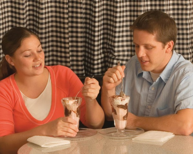 a couple eating ice cream on a date