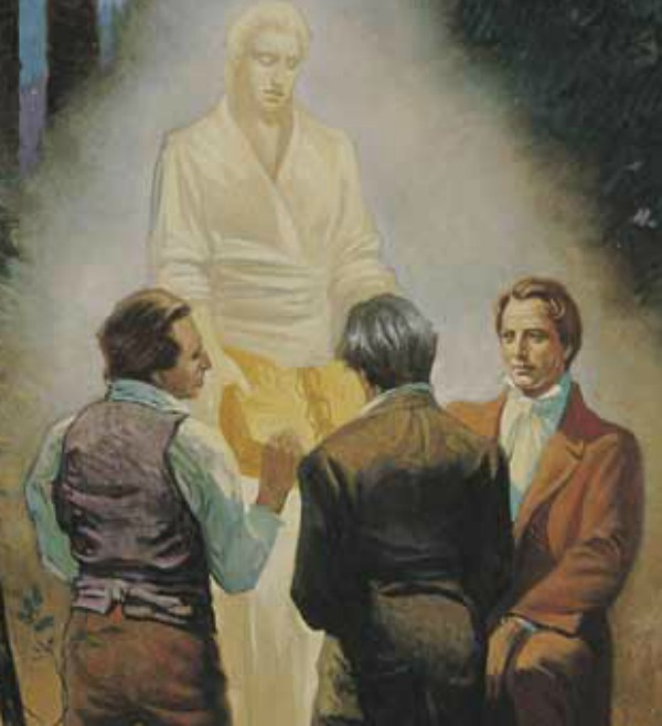 Image result for image of angel moroni appearing to Joseph Smith and three others