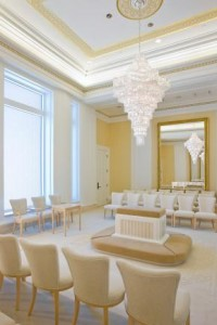 A photo of a Mormon Temple sealing room.